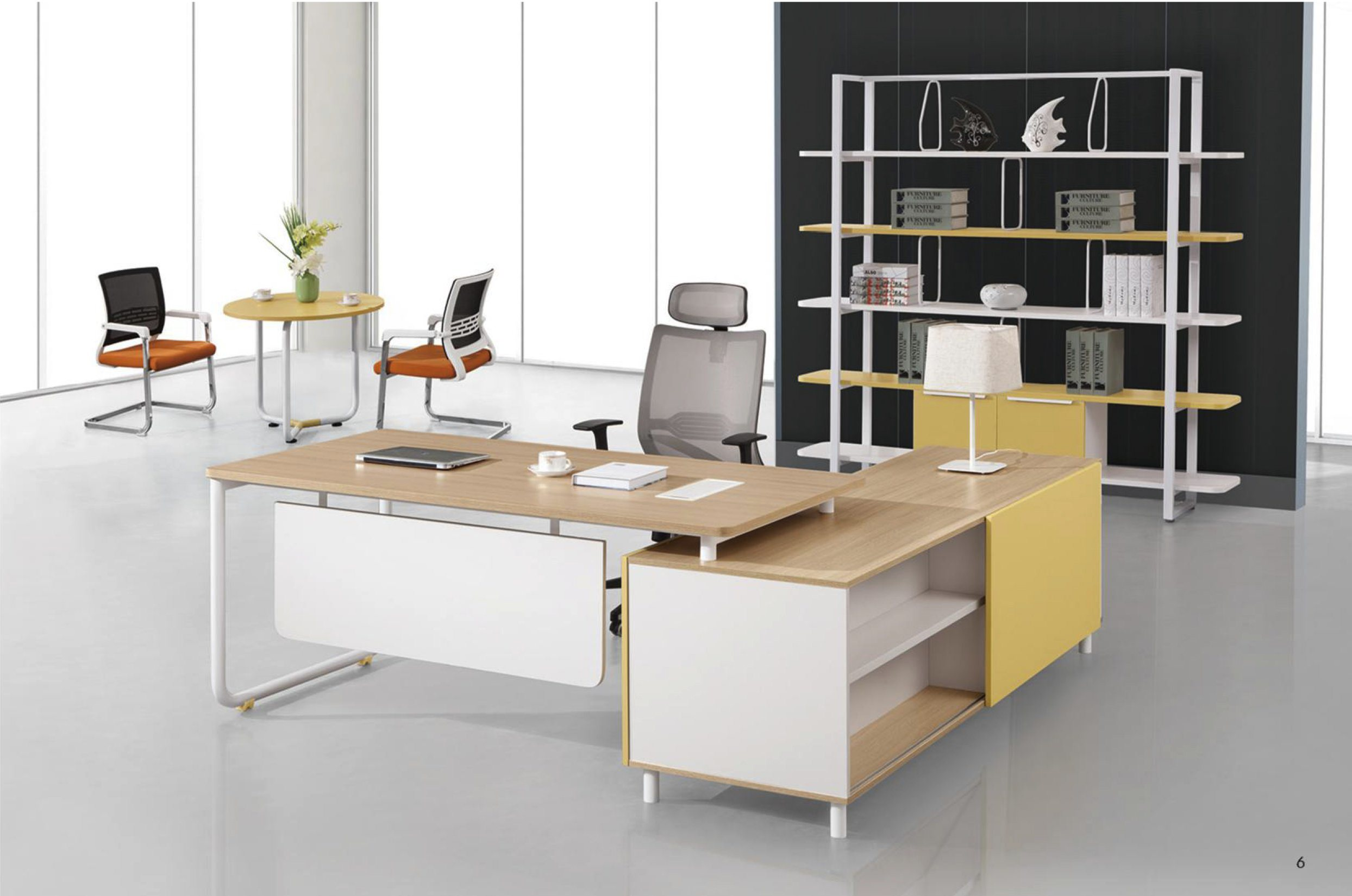 L-Shaped Melamine MDF Office Furniture Executive Desk