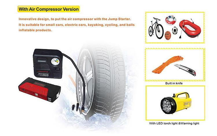 12V Emergency Car Jump Starter with Air Compressor