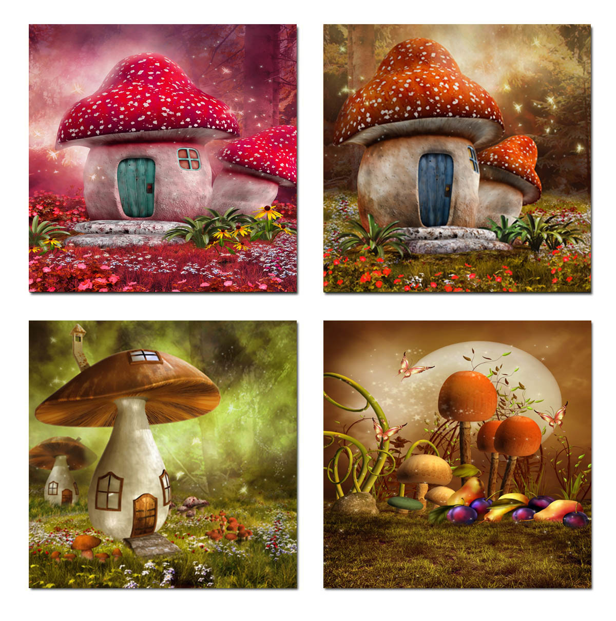 4 Piece Modern Wall Art Printed Painting Mushroom Painting Room Decor Framed Art Picture Painted on Canvas Home Decoration Mc-243