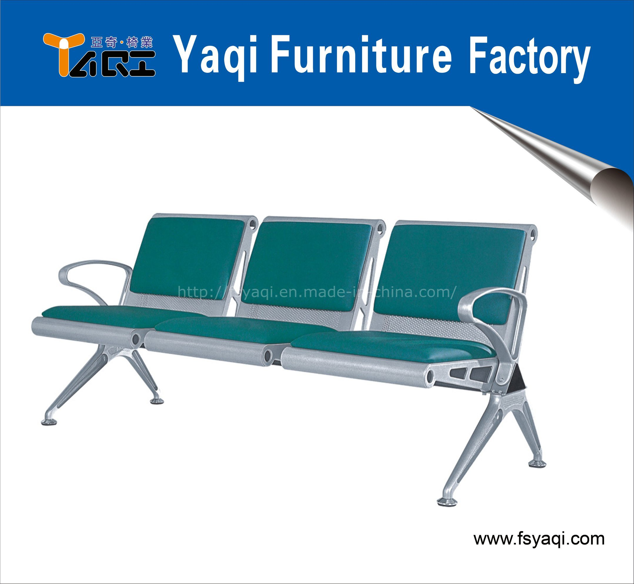 3-Seater Steel Waiting Chair with Cushion for Airport Hospital Station Chair (YA-35B)