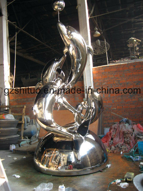 Dolphin Combination, Outdoor Garden Decoration Decorative Stainless Steel Sculpture