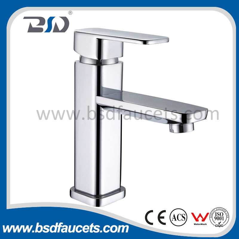 Yuhuan Manufacture Tapware 35mm Ceramic Cartridge in Square Pyramidal Shape Brass Basin Mixer