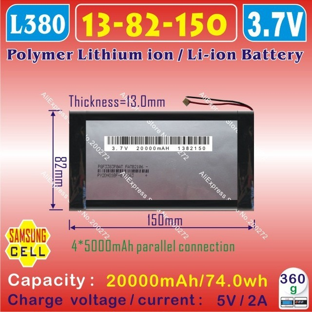 3.7V 20000mAh 1382150 Polymer Lithium Ion Battery) for Tablet PC, /Cell Phone/ Power Bank