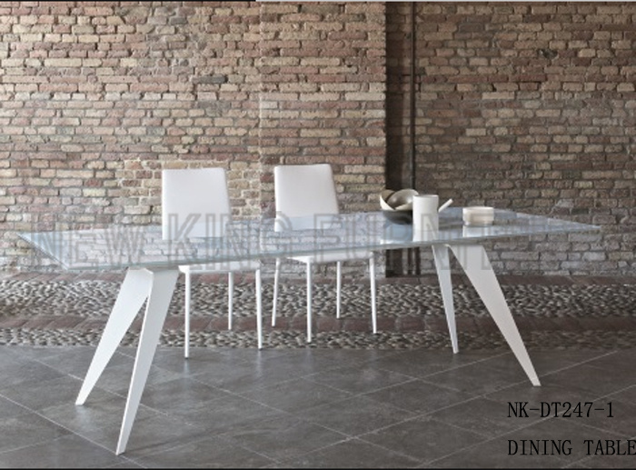 Modern Simple White Glass Table Italy Glass Dining Desk (NK-DT247-1)