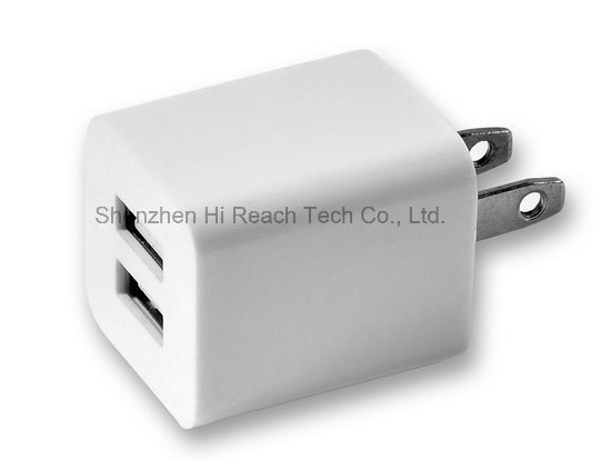 Portable Mini USB Travel Charger Dual USB Phone Charger Wall Charger with Us Plug