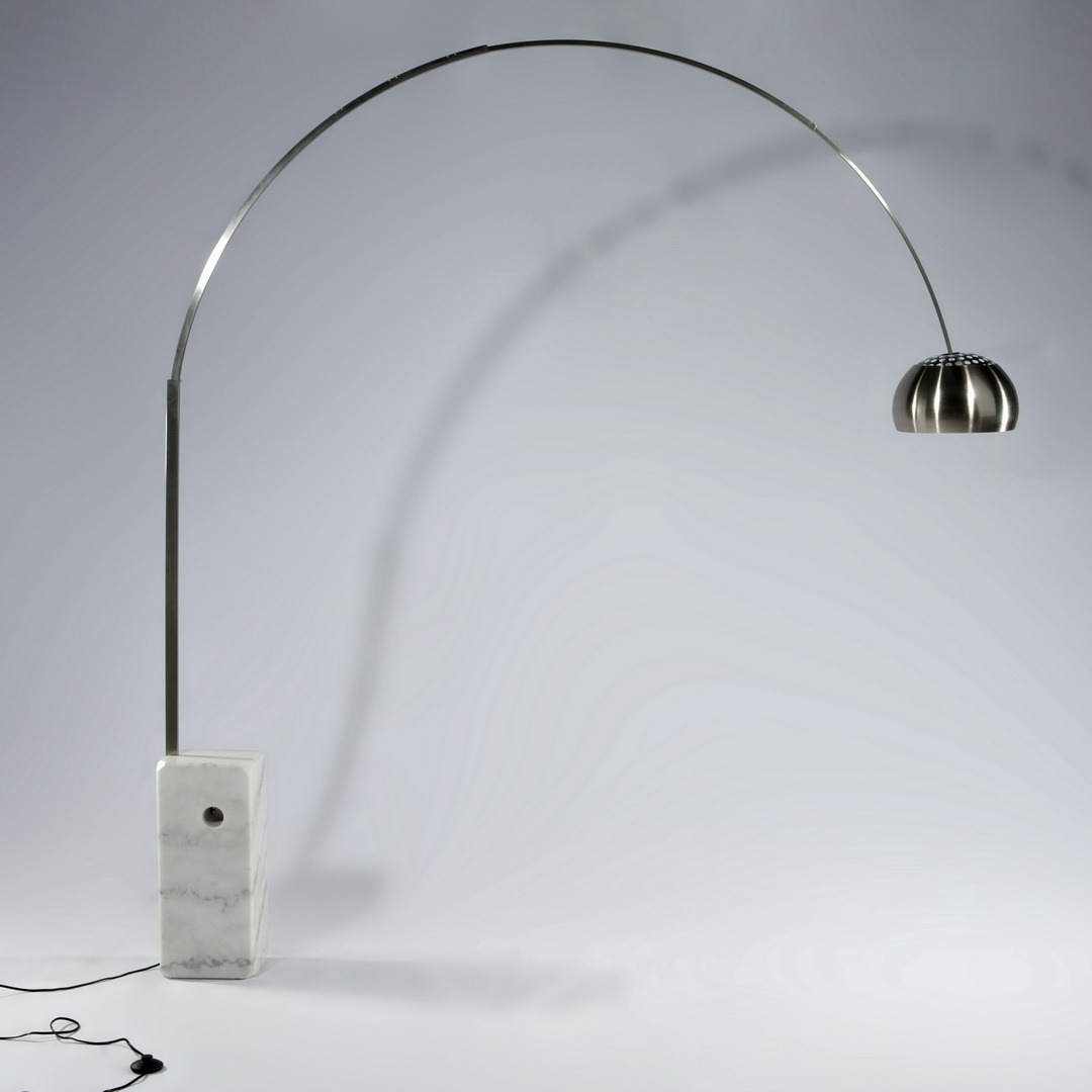 Carrara Stainless Steel Arc White Marble Floor Lamp