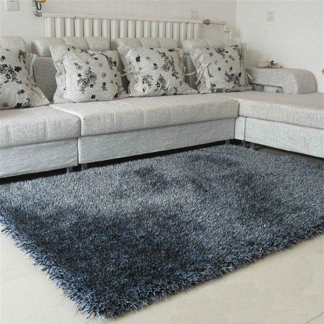 Modern House Design PVC Floor Shaggy Silk Polyester Carpet