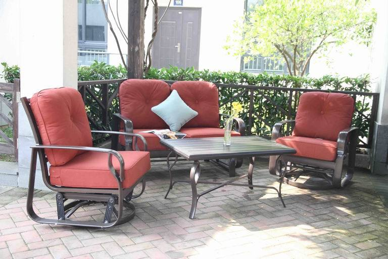 New Design Outdoor Cast Aluminum Loveseat Chat Group Furniture