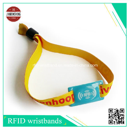 25mm Satin Wristbands with RFID Woven Label