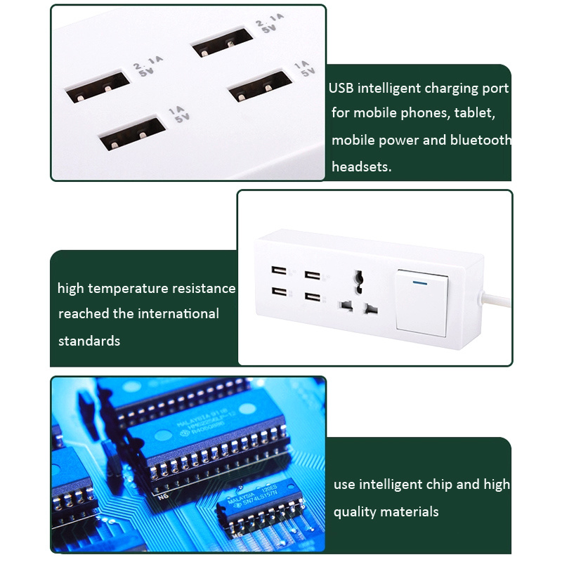 4 USB Quick Charge Function 1 Way Switch Electric Extension Receptacle Outlet Socket with Intergrated Power Cable