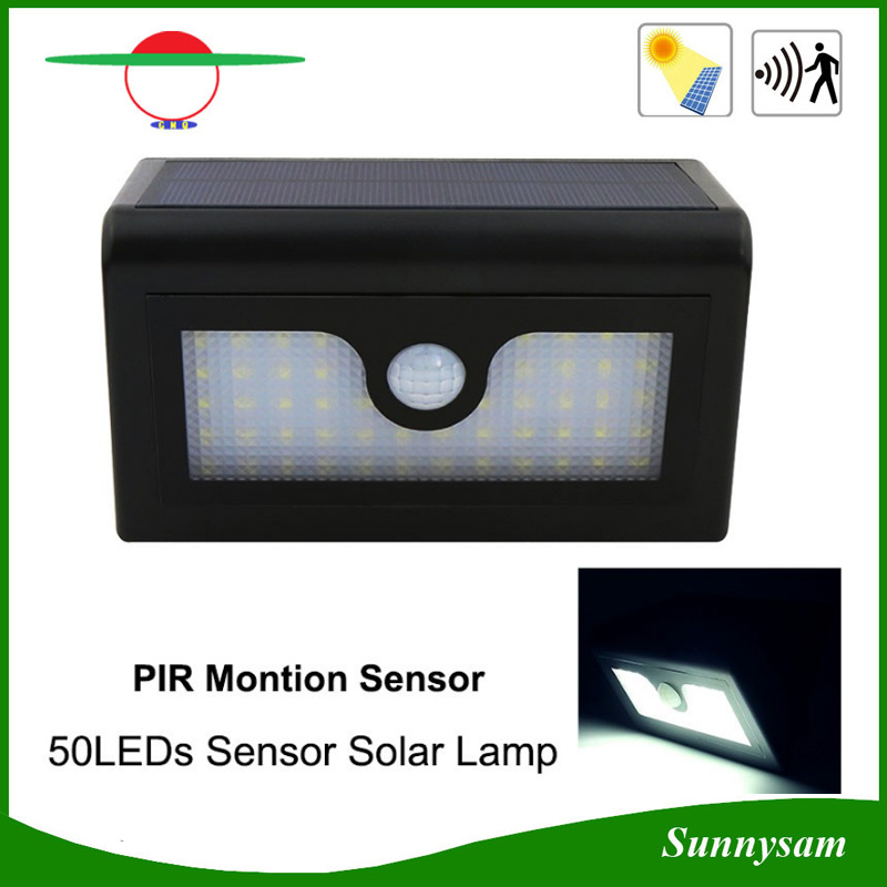 Waterproof 50LEDs Solar Motion Sensor Wall Lamp for Outdoor Garden