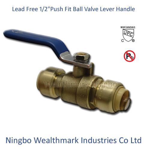 "Lead Free Brass 1/2""Push Fit Ball Valve with Lever Handle"