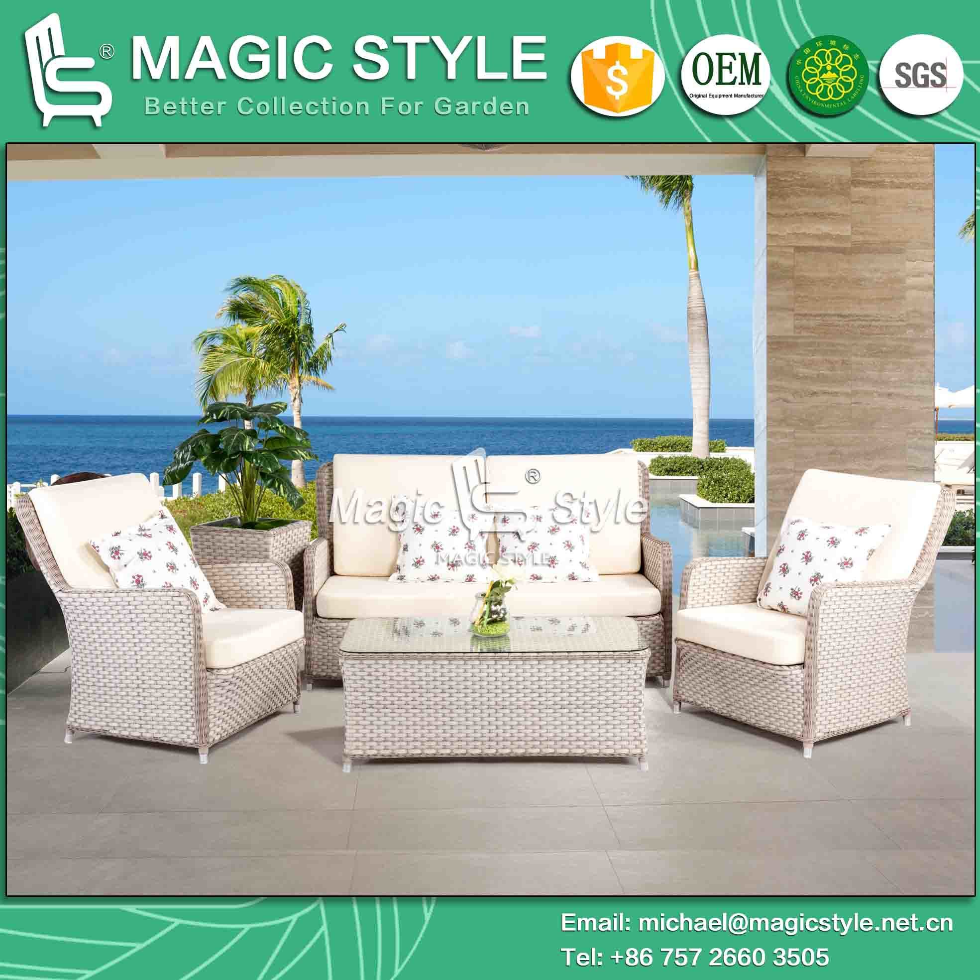 Outdoor Sofa Set Patio Sofa Wicker Sofa Rattan Sofa Rattan Sofa with Cushion Leisure Wicker Sofa (MAGIC STYLE)