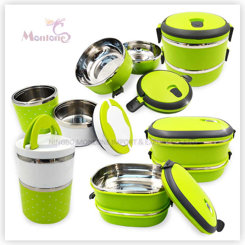 3 Layer Portable Plastic+Stainless Steel Lunch Box