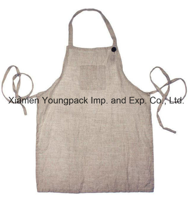 Fashion 100% Undyed Natural Linen Adult Size Kitchen Cooking Apron