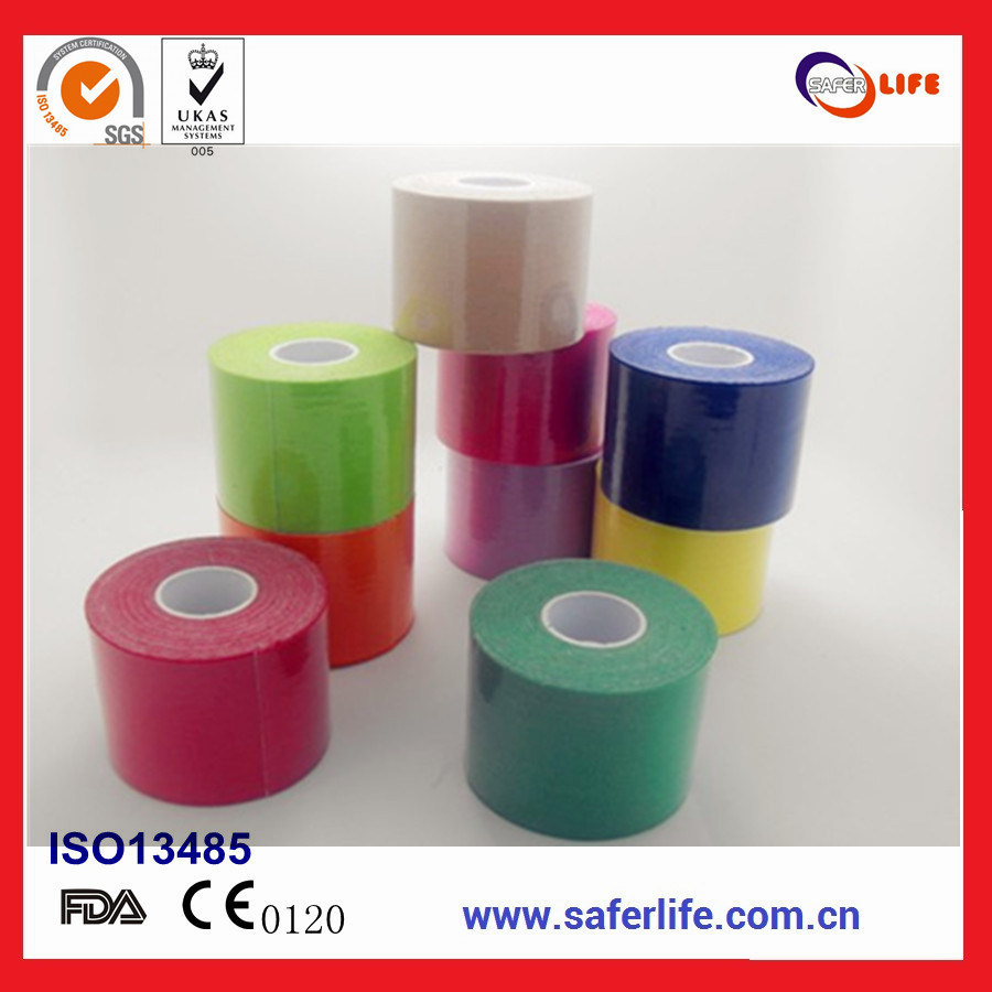2017 Saferlife Hot Sale Color Elastic Cotton Kinesiology Tape 5cm X 5m for Sports Muscle Therapy