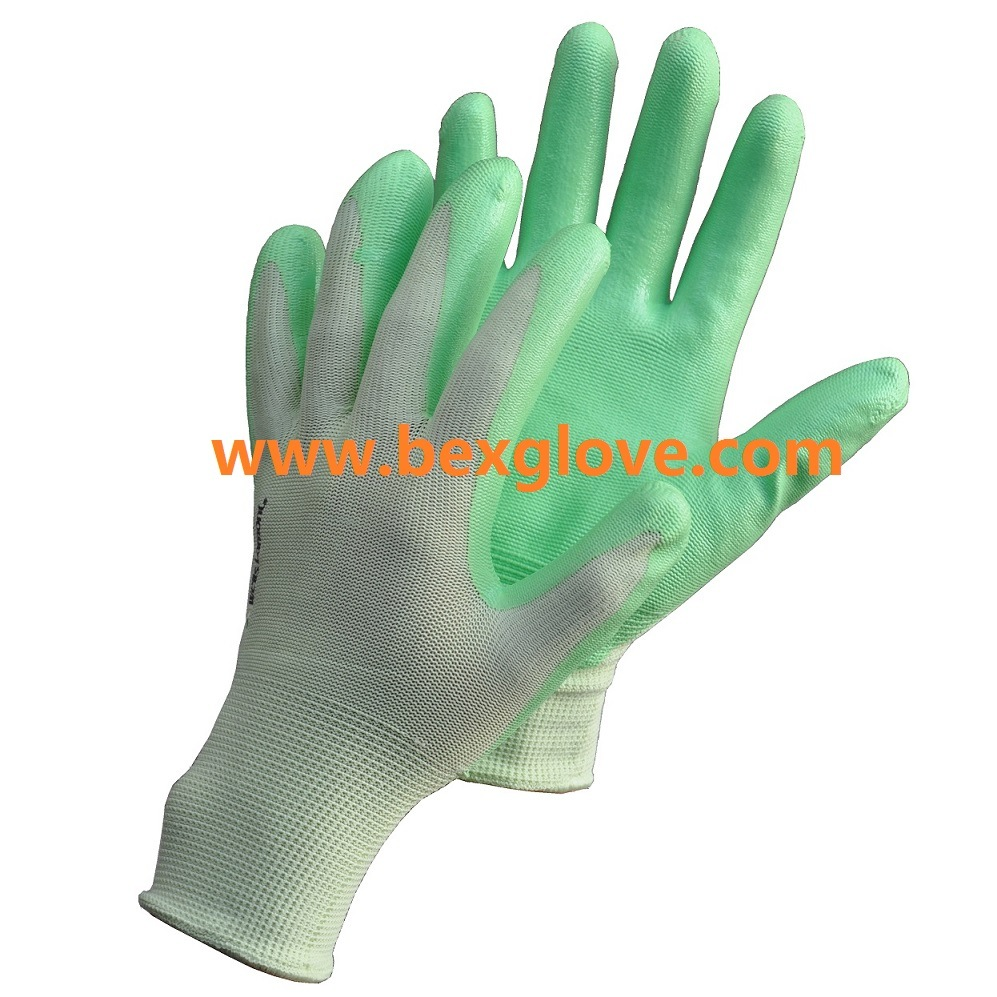 13 Gauge Polyester Liner, Nitrile Coating, Foam Finish Glove