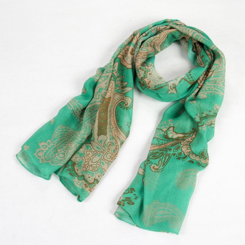 Fashion Autumn Long Polyester Voile Women Green Scarf