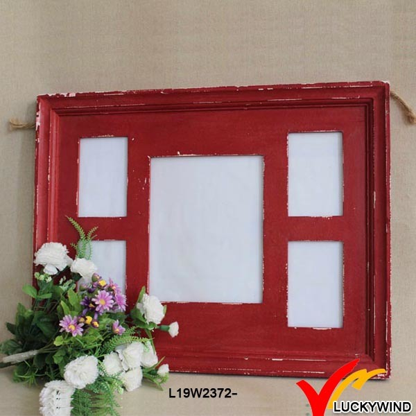 Chic Red Table Standing Distressed Photo Frames