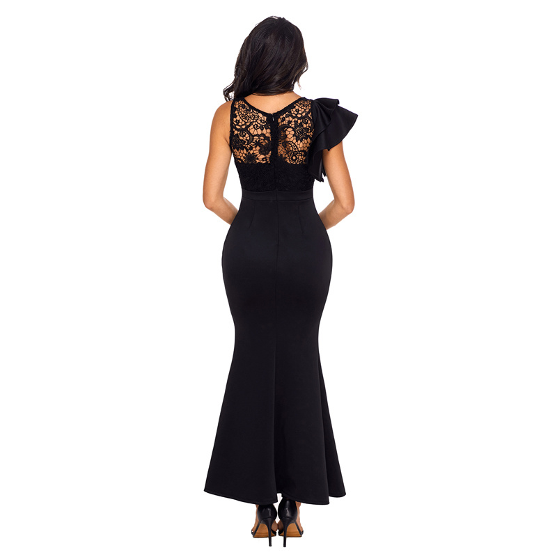 Woman Black Ruffle Sleeve Crochet Top Maxi Evening Gown Dress