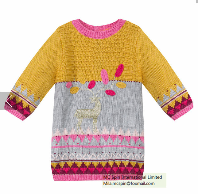 Kids Sweater Texture Knitted Dress for Girls