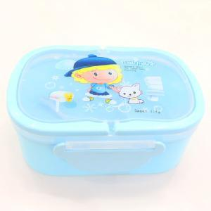 Cartoon Blue Plastic Lunch Box Food Container