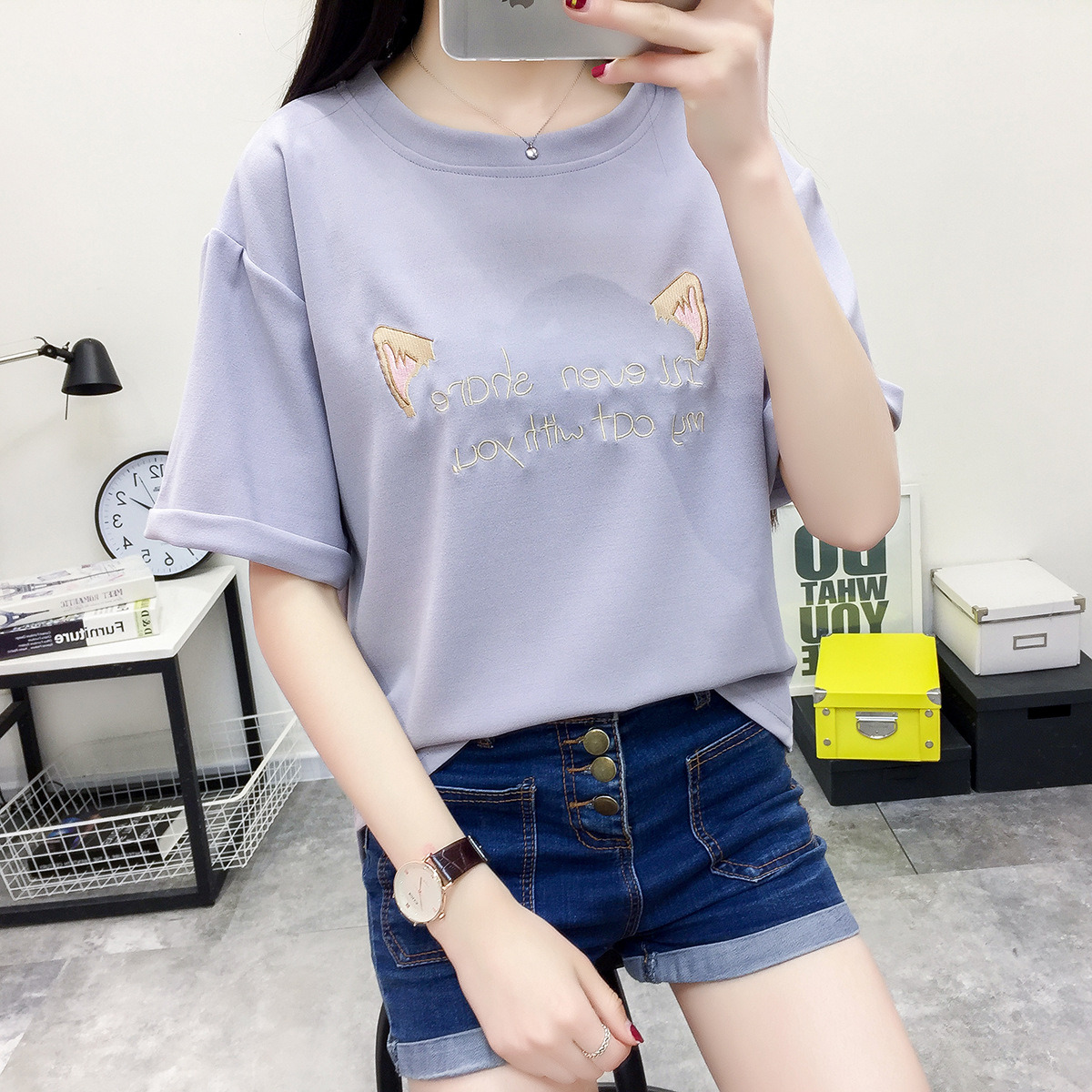 All-Match Fashion Floral Cartoon Graphic Summer Cropped Women Bottoming Shirt