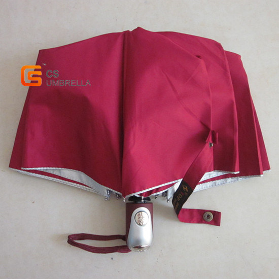 Auto Open and Close Red Canopy 3 Folding Umbrella (YSF3028B)