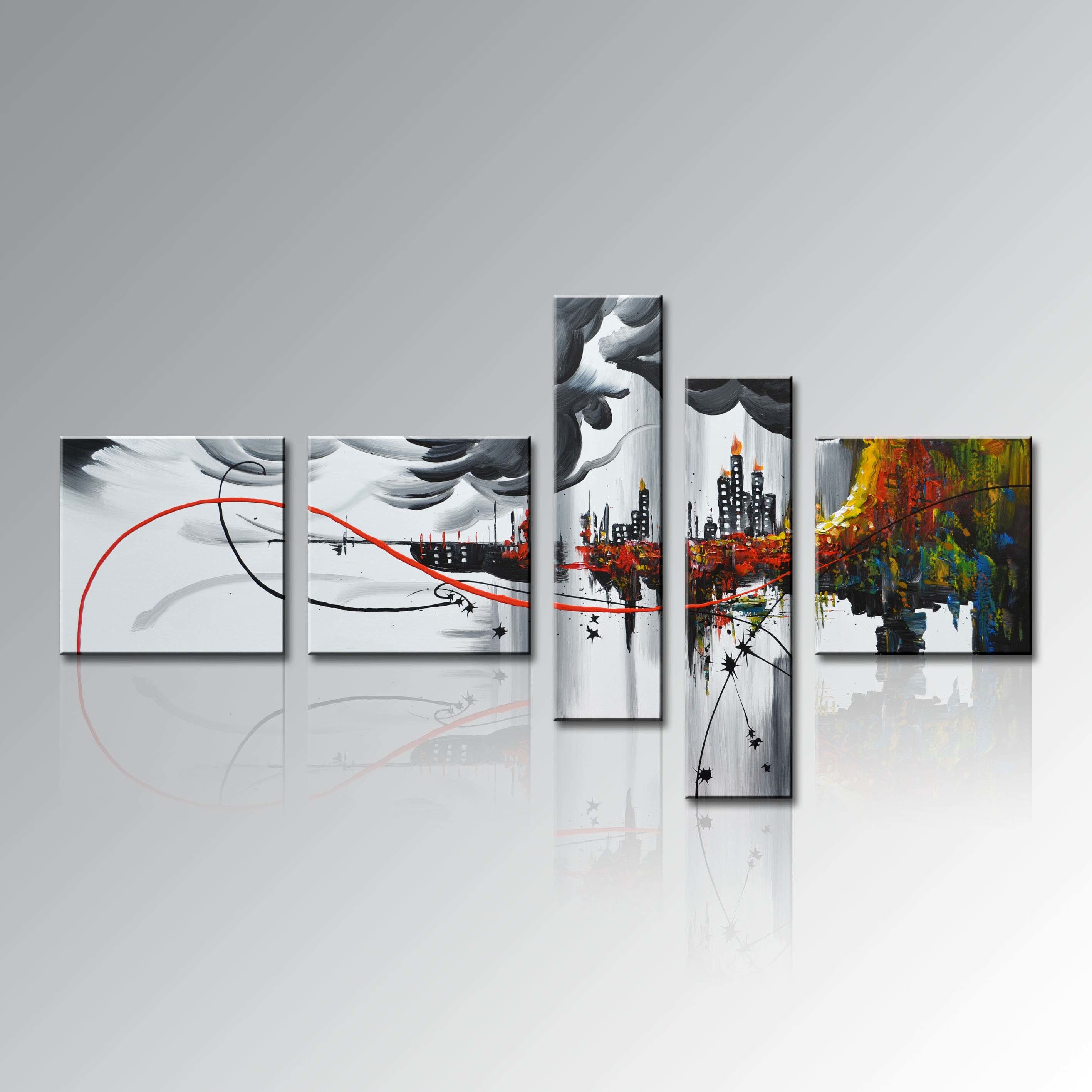 China hand painted group 5 piece modern framed home decor for Abstract decoration