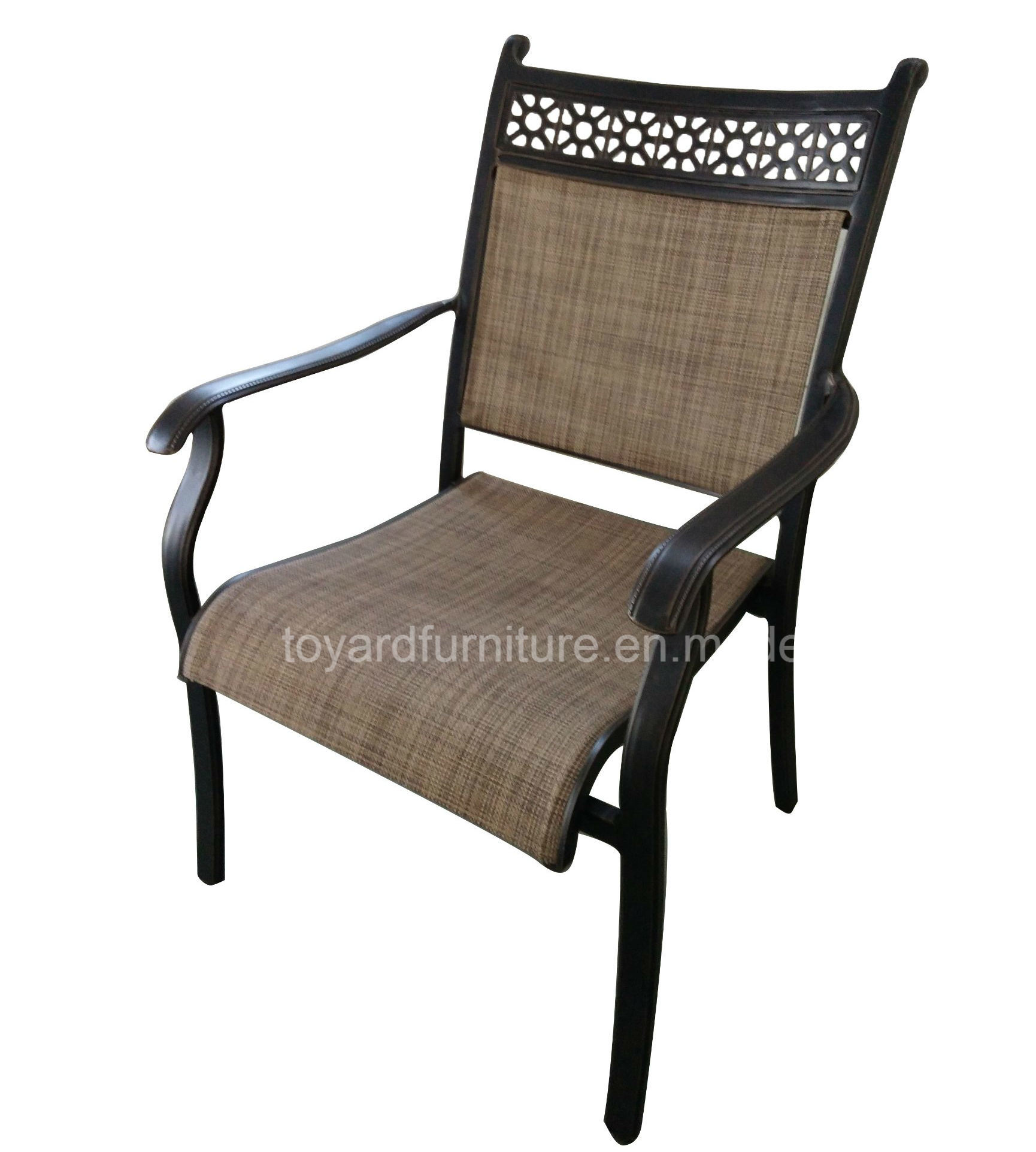 Home Indoor Outdoor Sling Mesh/ Cast Aluminum Dining Arm Chair in Antique Bronze Finish