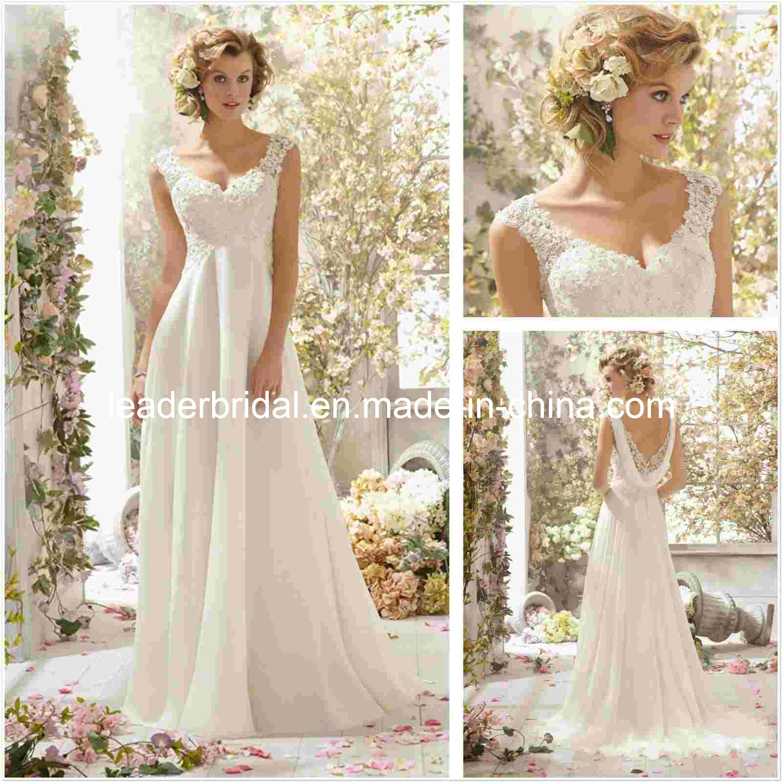China lace chiffon maternity sleeveless sheer v neck for Lace beach wedding dresses