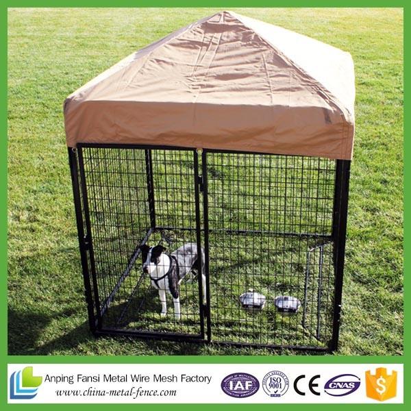Square Corner Design Black Powder-Coat Dog Kennels for Us Market