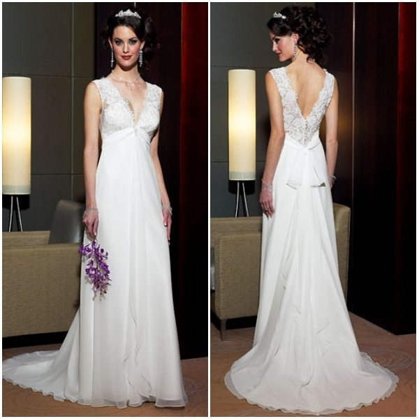 China deep sexy v neck low back good satin wedding dress for Satin low back wedding dress