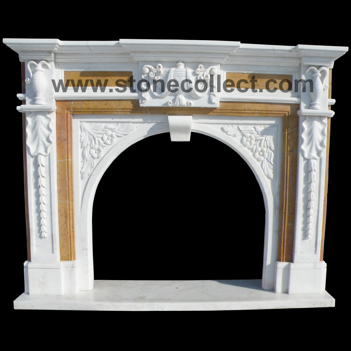 Marble Fireplace Mantel with Nice Carvings in European Style