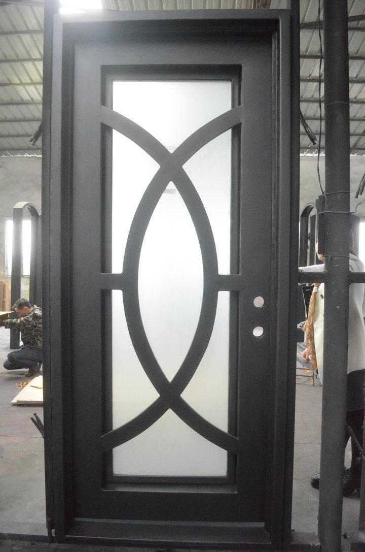 China modern design wrought iron single door photos for Modern single door design