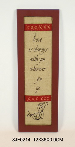 Wooden Vintage House-Shaped Wall Art in MDF with Embroidery