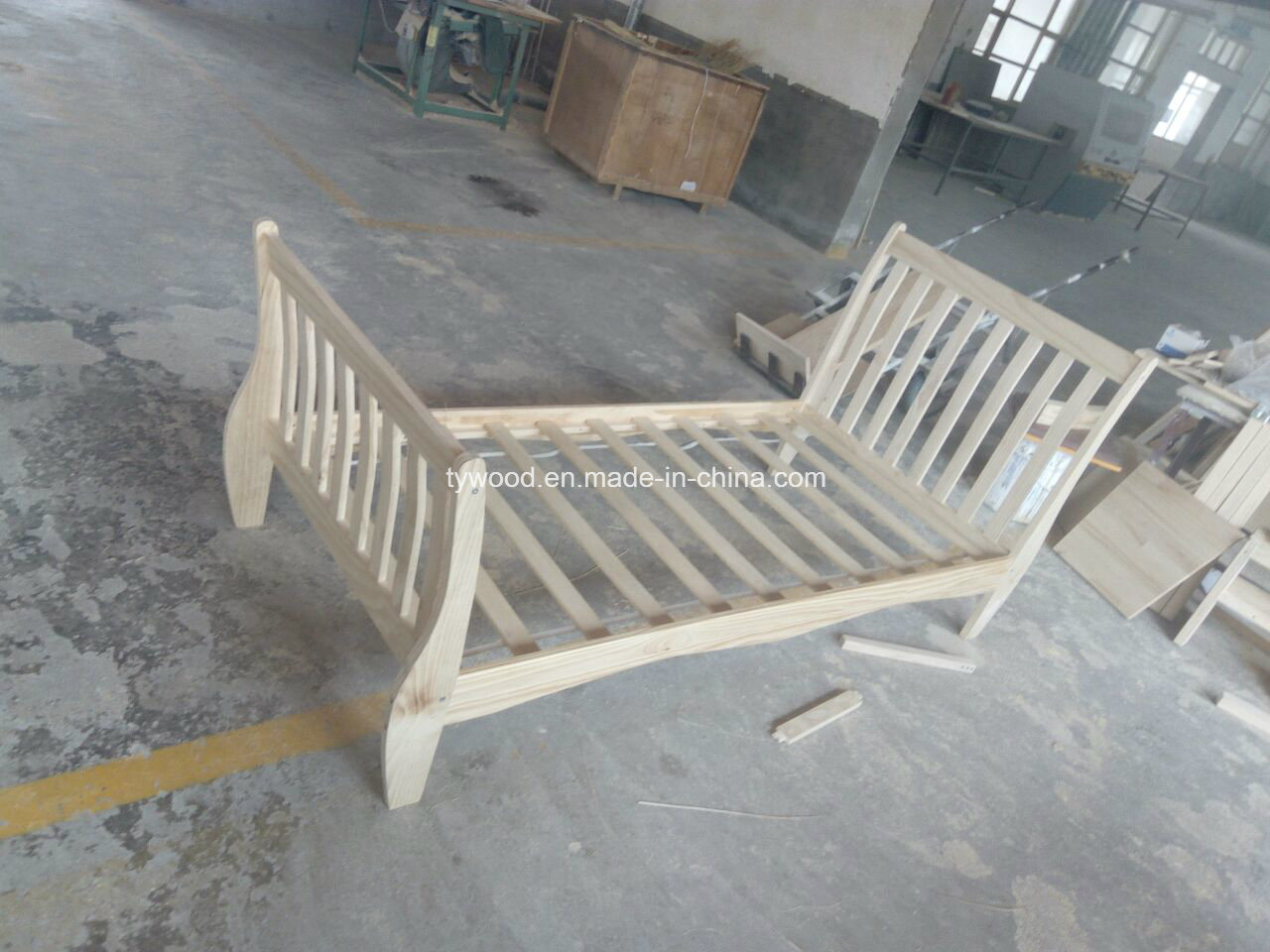 Single Bed in Natural with Sleigh Design
