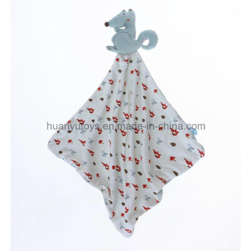 Baby Knitting Fabric Squirrel Snuggler Handkerchief