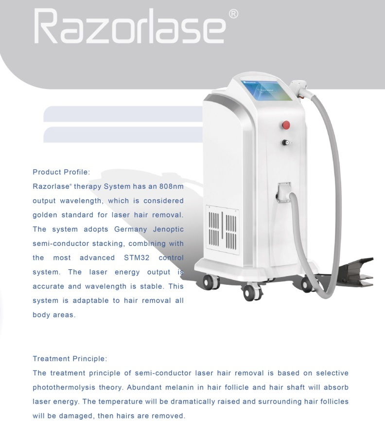 High Power 808 Diode Laser Hair Removal Painless Treatment
