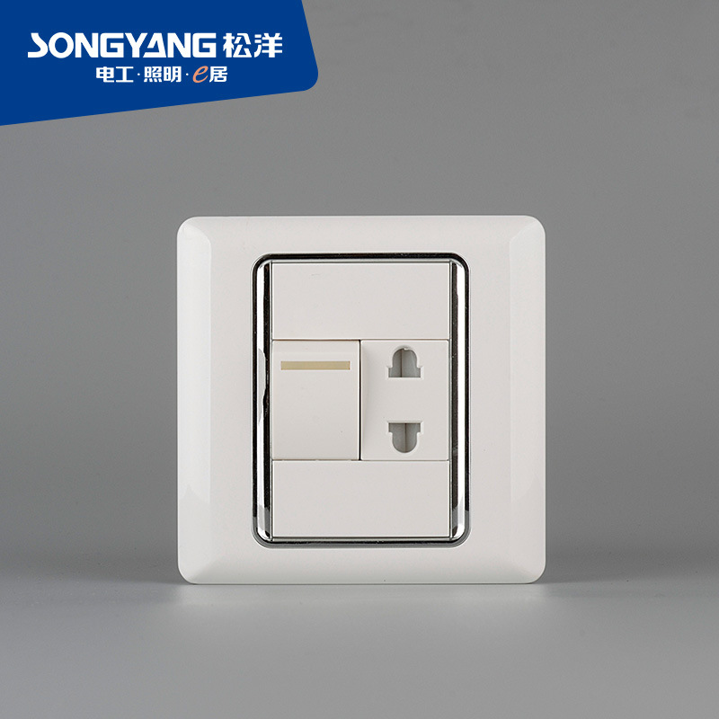 Flame Retardant PC Plastic Series 1gang+1socket Wall Socket