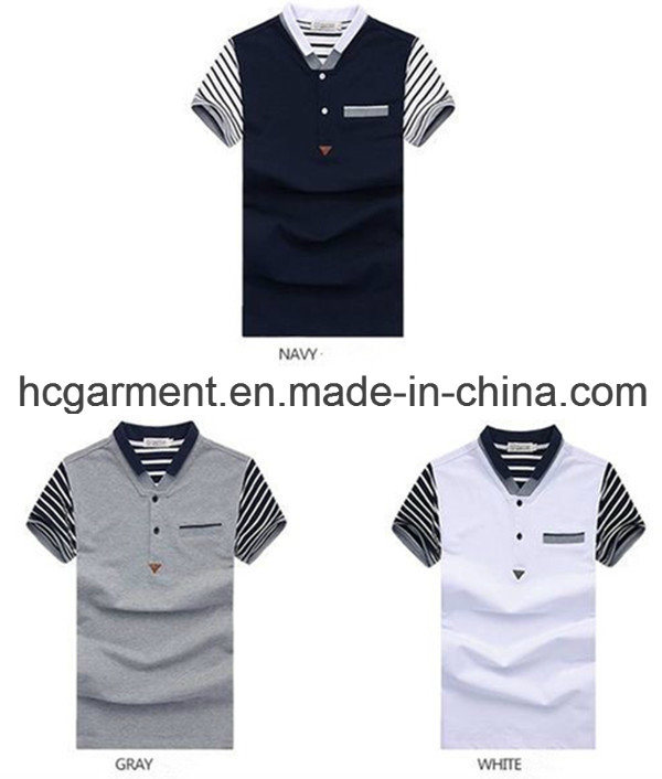 Men′s Polo Shirt, Cotton Short Sleeve Printed T-Shirt