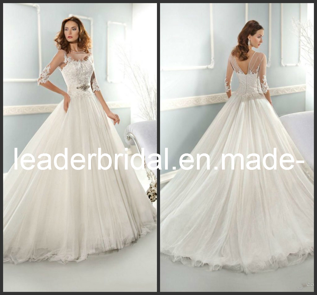Lace wedding dresses 2014 2014 new wedding dresses white for 3 4 sleeve ball gown wedding dress