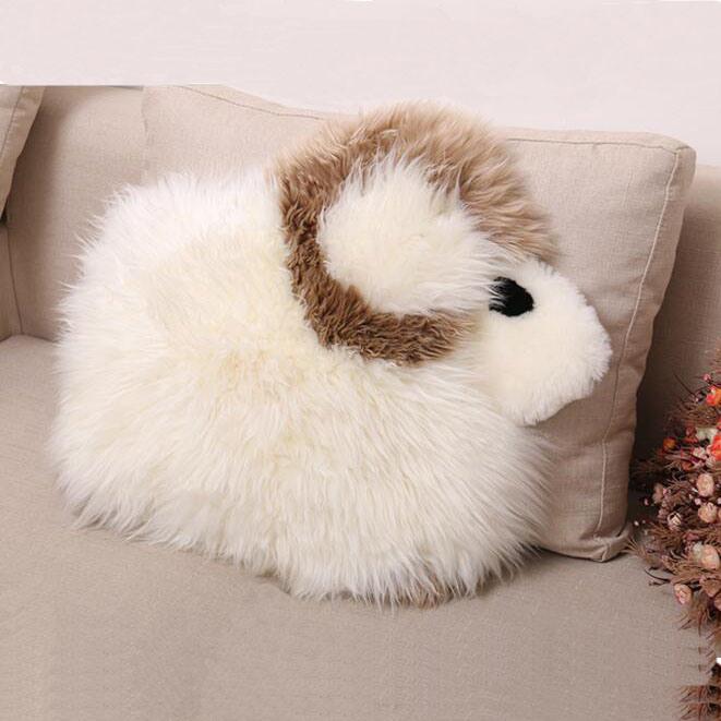 Sheep Shape Sheepskin Cushion with Pocket for Kids Home Decoration