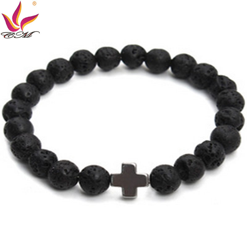 SMB011 Aliexpress Fashion Original Lava Stone Bracelet with Cross Hematite Decoration