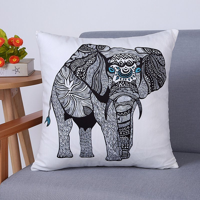 Digital Print Decorative Cushion/Pillow with Elephant Pattern (MX-98)