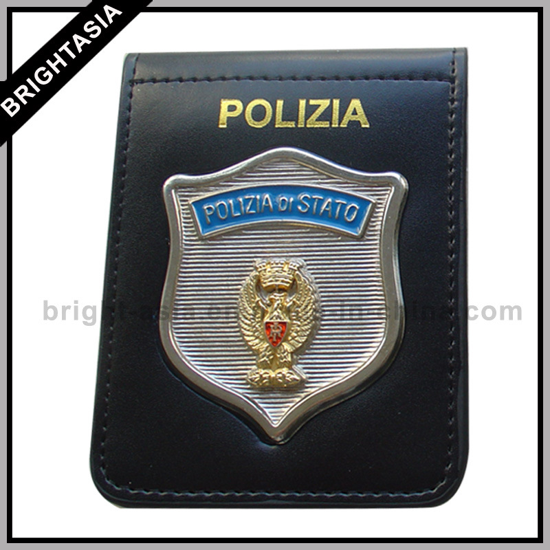 Metal Badge Genuine Leather Wallet