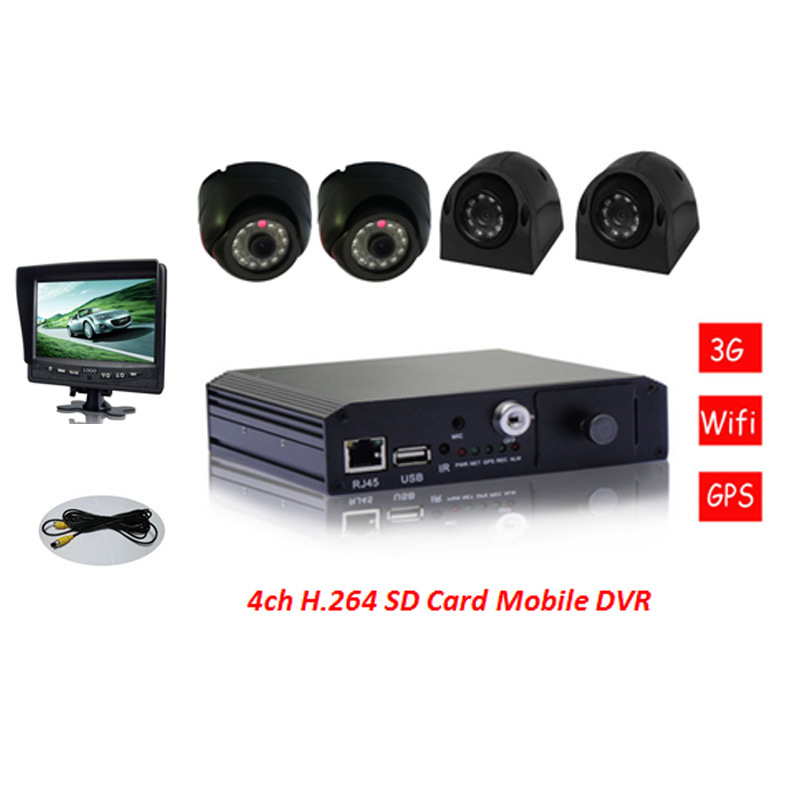 64G/128g SD Mobile DVR 4 Channels for Vehicle and Remote Area Surveillance