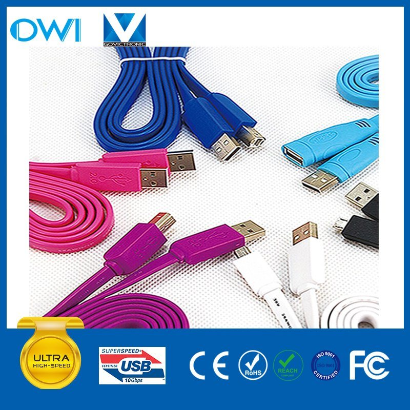Colorful Flat Charger&Transfer Data USB Cable