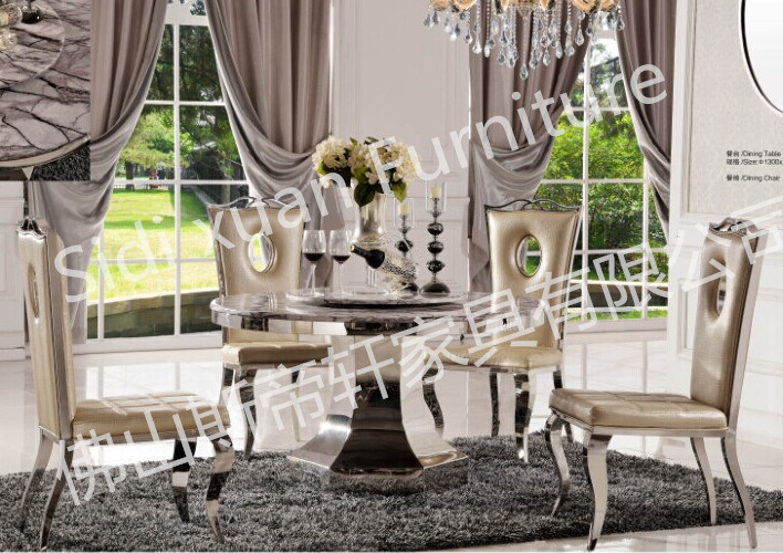 Elegant 5 Seaters Round Marble Glass Dining Table Home Furniture Cheap Price (SJ825)