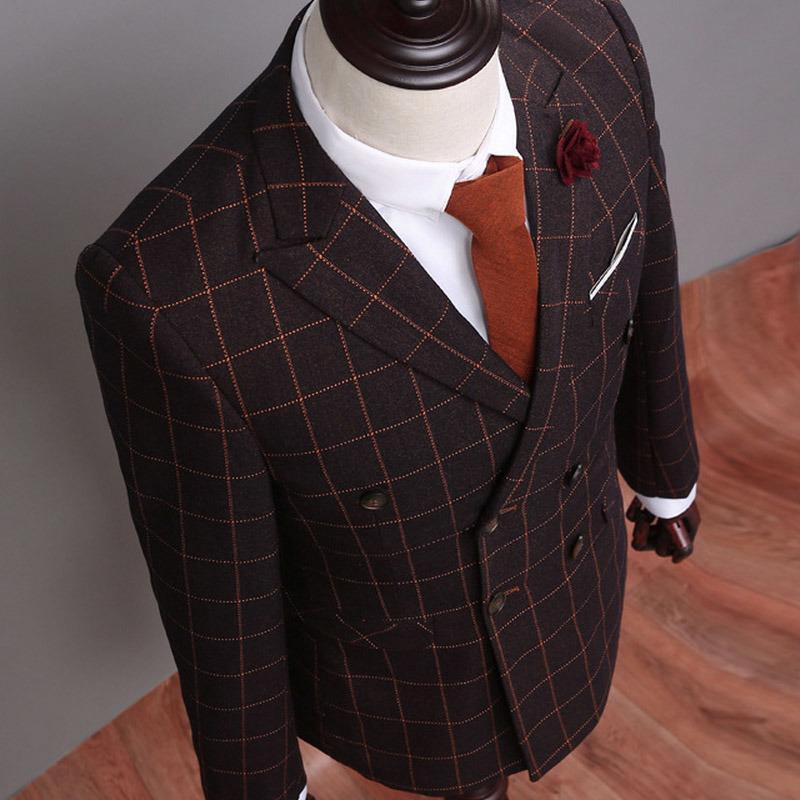 Three-Piece Suit (Jacket Pants Vest) Blazer Dress Men′s Business Suit